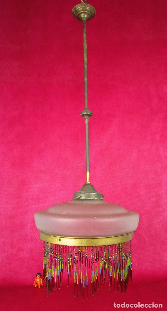 Antigüedades: LAMPARA ANTIGUA MODERNISTA LATON Y FLECOS DE CRISTAL CIRCA 1900 RESTAURADA - Foto 3 - 133377206