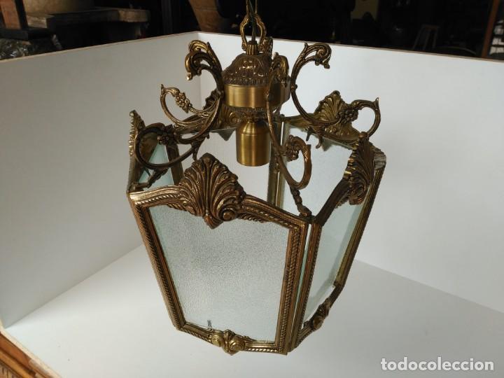 GRAN LAMPARA O FAROL EN BRONCE (Antigüedades - Iluminación - Faroles Antiguos)