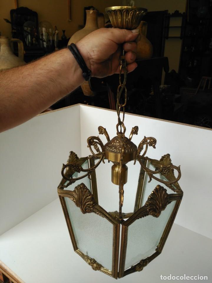 Antigüedades: Gran lampara o farol en bronce - Foto 2 - 133404334
