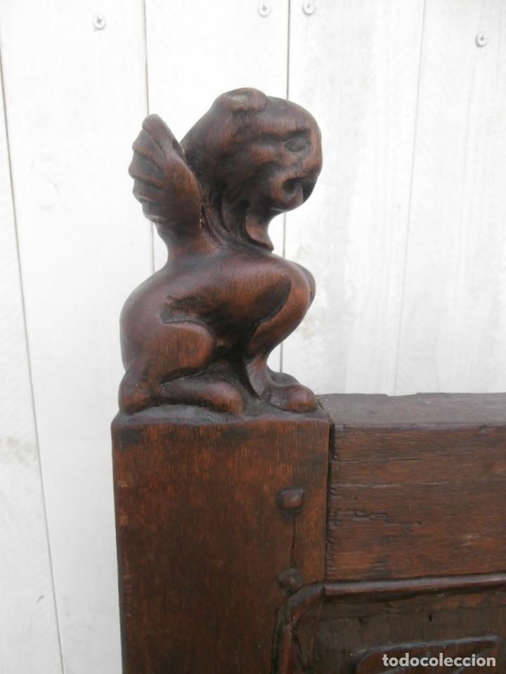 Antigüedades: banco escaño banqueta en madera de roble estilo y epoca gotica,siglo xv-xvi,cuarteron de servilleta - Foto 2 - 133466654