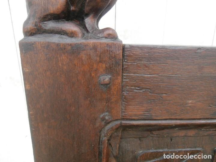 Antigüedades: banco escaño banqueta en madera de roble estilo y epoca gotica,siglo xv-xvi,cuarteron de servilleta - Foto 8 - 133466654