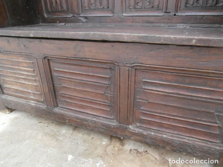 Antigüedades: banco escaño banqueta en madera de roble estilo y epoca gotica,siglo xv-xvi,cuarteron de servilleta - Foto 17 - 133466654