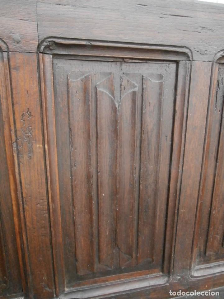 Antigüedades: banco escaño banqueta en madera de roble estilo y epoca gotica,siglo xv-xvi,cuarteron de servilleta - Foto 18 - 133466654