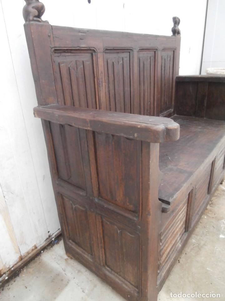 Antigüedades: banco escaño banqueta en madera de roble estilo y epoca gotica,siglo xv-xvi,cuarteron de servilleta - Foto 20 - 133466654