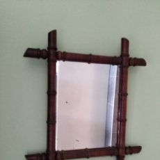Antigüedades: ANTIGUO ESPEJO DE MADERA IMITANDO BAMBÚ. Lote 133480090