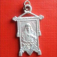 Antigüedades: BONITA MEDALLA RELIGIOSA ANTIGUA CORAZÓN DE JESÚS MADRID / 23 X 36 CM. Lote 133497150