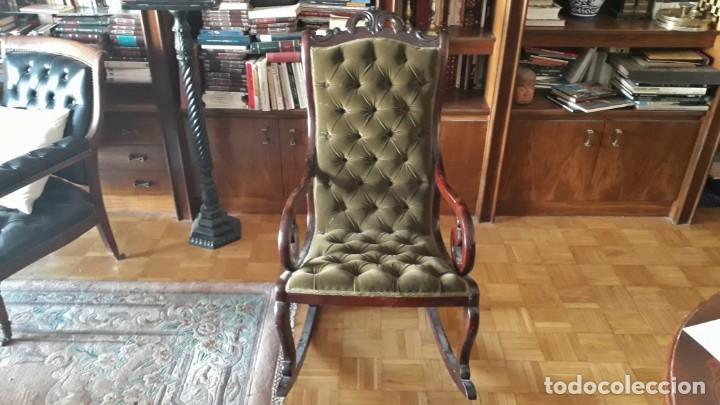 Antigüedades: Mecedora antigua tapizado en capitoné cuero verde estilo inglés. Butaca antigua, sillón antiguo - Foto 3 - 133503602