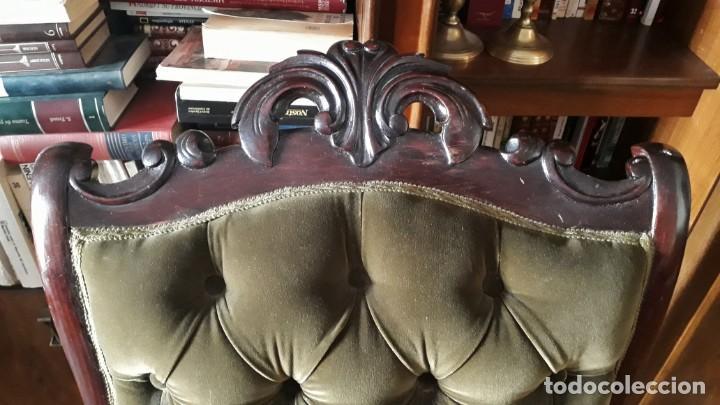 Antigüedades: Mecedora antigua tapizado en capitoné cuero verde estilo inglés. Butaca antigua, sillón antiguo - Foto 4 - 133503602