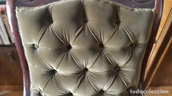 Antigüedades: Mecedora antigua tapizado en capitoné cuero verde estilo inglés. Butaca antigua, sillón antiguo - Foto 5 - 133503602