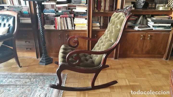 Antigüedades: Mecedora antigua tapizado en capitoné cuero verde estilo inglés. Butaca antigua, sillón antiguo - Foto 6 - 133503602