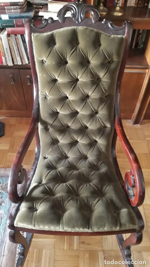 Antigüedades: Mecedora antigua tapizado en capitoné cuero verde estilo inglés. Butaca antigua, sillón antiguo - Foto 8 - 133503602