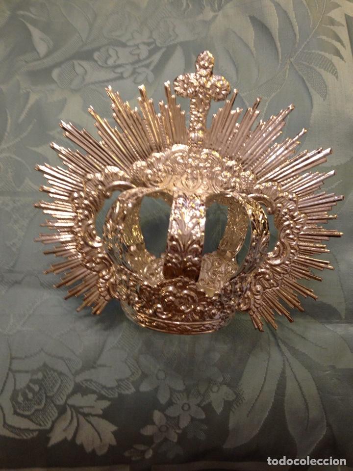 Antigüedades: Corona imperial de Virgen, baño de plata 8 cm diámetro(nuevo) - Foto 2 - 257581970