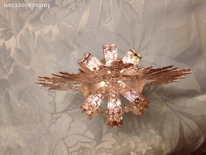 Antigüedades: Corona imperial de Virgen, baño de plata 8 cm diámetro(nuevo) - Foto 6 - 257581970