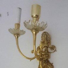 Antigüedades: ANTIGUO APLIQUE, CANDELABRO, FAROL, LÁMPARA DE BRONCE. ELECTRIFICADO. CASINO MERCATIL ZARAGOZA. Lote 133543958
