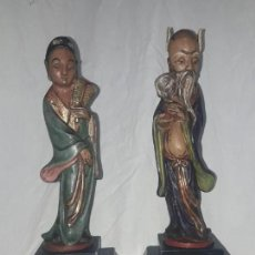 Antigüedades: ANTIGUA Y MARAVILLOSA PAREJA DE CERÁMICA HECHA Y PINTADA A MANO ORIGEN JAPÓN FIRMADAS SIGLO XX 31CM. Lote 133579294