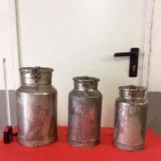 Antigüedades: LOTE 3 LECHERAS ANTIGUAS DE METAL DE 3,4 Y 6 LITROS. Lote 133582310
