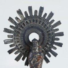 Antigüedades: VIRGEN DEL PILAR. METAL CHAPADO EN PLATA. SIGLO XX. . Lote 133613986