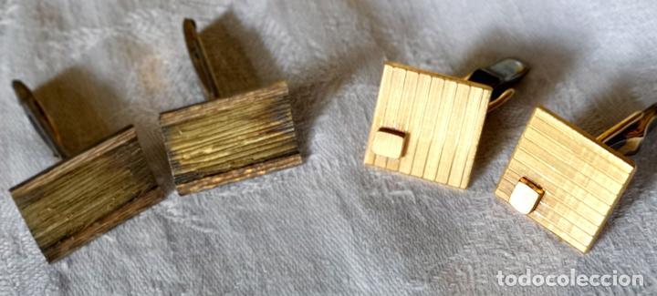 LOTE DE GEMELOS VINTAGE. PLATA Y METAL DORADO. ESPAÑA. AÑOS 60 (Antigüedades - Moda - Gemelos Antiguos)