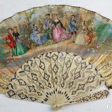 Antigüedades: ABANICO ISABELINO SIGLO XIX, 27 CM DE LARGO DE VARILLA. Lote 133623074