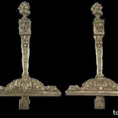 Antigüedades: ANTIGUA PAREJA DE ADORNOS DE BRONCE. RESTAURADOS. DRAGÓN, LEÓN. MUY BONITOS. 38X23CM. Lote 121348259