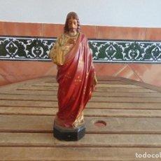 Antigüedades: SAGRADO CORAZON EN ESTUCO PASTA DE MADERA CON BASE DE MADERA RESTAURAR SELLADA DE OLOT. Lote 133633114