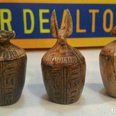 Antigüedades: 3 REPRODUCCIONES ANTIGUAS EN PIEDRA, DEL VASO CANOPO EGIPCIO, RECIPIENTE PARA LA MOMIFICACIÓN. Lote 133642590