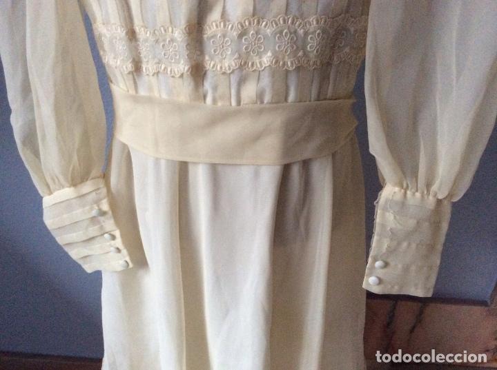 Antigüedades: PRECIOSO VESTIDO DE COMUNIÓN ANTIGUO CON TOCADO - Foto 8 - 84699728
