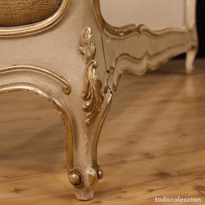 Antigüedades: Cama veneciana en madera lacada y plateada con terciopelo - Foto 10 - 133730494