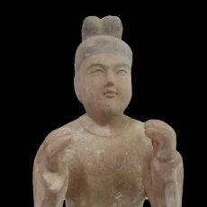 Antigüedades: ESPECTACULAR ESCULTURA DE TERRACOTA DE BUDA. SIGLO XVIII. PIEZA MARAVILLOSA. VER FOTOS.. Lote 133777142