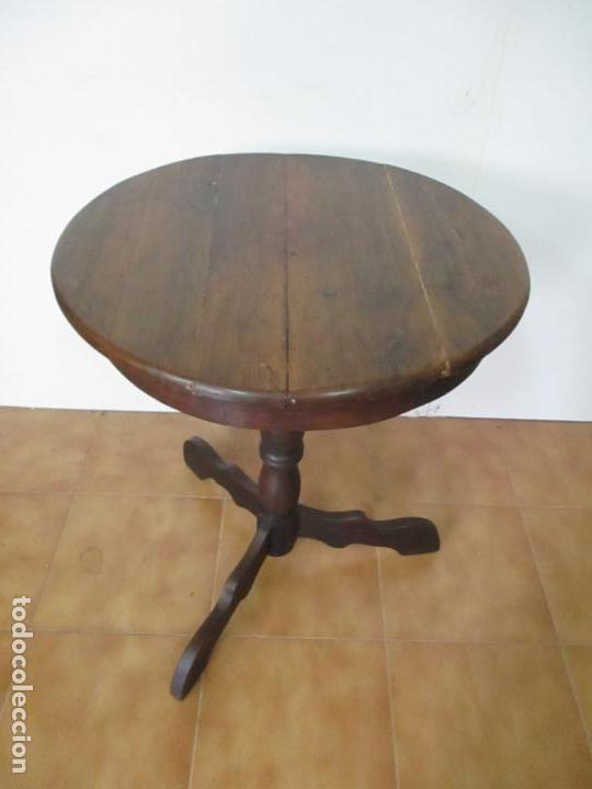 Antigüedades: Mesa de Centro Isabelina, Redonda - Madera de Olivo, Maciza - S. XIX - Foto 2 - 133782342