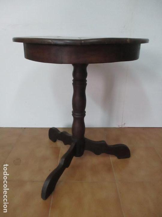 Antigüedades: Mesa de Centro Isabelina, Redonda - Madera de Olivo, Maciza - S. XIX - Foto 11 - 133782342