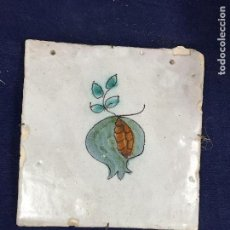 Antigüedades: ANTIGUO AZULEJO RAJOLA CATALANA CATALUÑA SERIE DE LA FRUTA GRANADA PINTADA A MANO XVIII. Lote 133806066