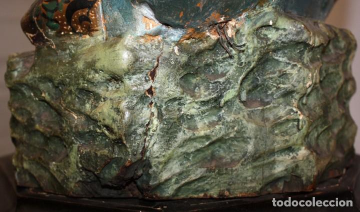 Antigüedades: IMPORTANTE TORCHERO NEGRO (VENECIANO) EN MADERA TALLADA Y POLICROMADA. APROXIMADAMENTE 1900 - Foto 24 - 133818058