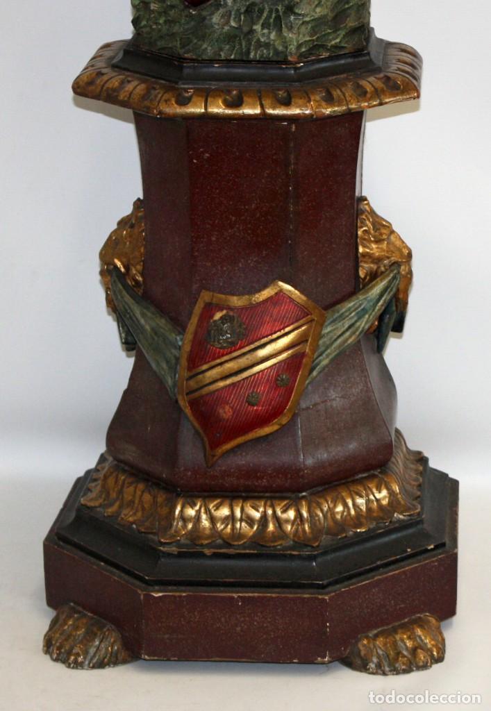 Antigüedades: IMPORTANTE TORCHERO NEGRO (VENECIANO) EN MADERA TALLADA Y POLICROMADA. APROXIMADAMENTE 1900 - Foto 28 - 133818058
