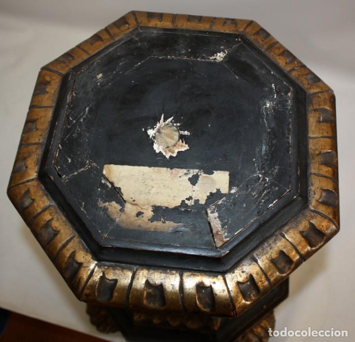 Antigüedades: IMPORTANTE TORCHERO NEGRO (VENECIANO) EN MADERA TALLADA Y POLICROMADA. APROXIMADAMENTE 1900 - Foto 33 - 133818058