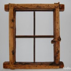 Antigüedades: MARCO VENTANA CON REJA DE FORJA. Lote 133847618