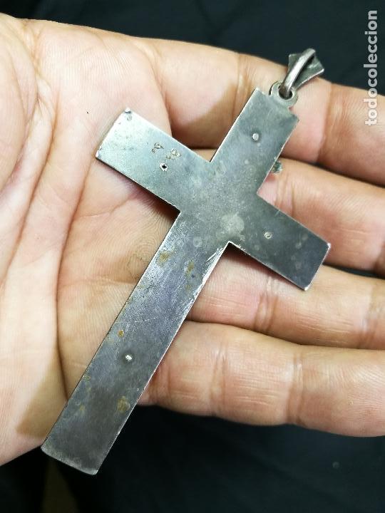 Antigüedades: CRUCIFIJO CRUZ PORTABLE SIGLO XIX-XX PLATA DE LEY --10 mm alto CON ANILLA - Foto 6 - 133849770