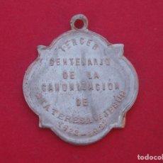 Antigüedades: MEDALLA CONMEMORACIÓN CANONIZACIÓN SANTA TERESA AÑO 1922. Lote 133859102