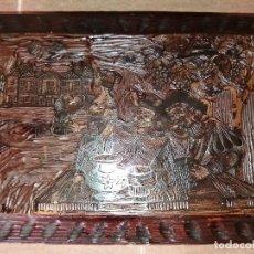Antigüedades: CAJA COFRE MADERA ( 45 X 33 X 13 ) (LEER DESCRIPCIÓN ). Lote 133879386