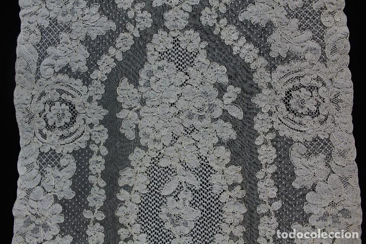 Antigüedades: 48 Tapete de encaje de Alençon antiguo 120x50 cm - Foto 4 - 133895390