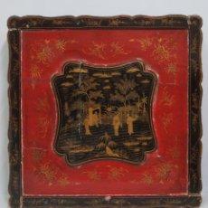 Antigüedades: CAJA LACADA CHINA PARA MANTON DE MANILA. SIGLO XIX. Lote 133911818