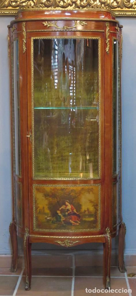 Subastas Muebles Antiguos Barcelona : Antigua vitrina luis xv con paneles pintados a comprar
