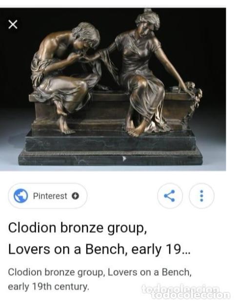 Antigüedades: Antigüa Escultura de bronce CLODION - Foto 6 - 133954698