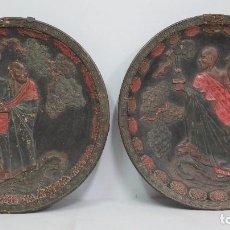 Antigüedades: ANTIGUA PAREJA DE PLATOS DE CERAMICA. CHINA?. SIGLO XIX. Lote 133969590