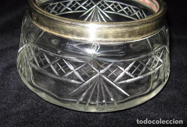 Antigüedades: ANTIGUO CENTRO DE MESA DE CRISTAL TALLADO Y PLATA SELLADO - Foto 4 - 133992038