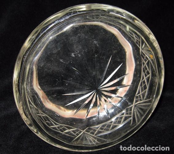 Antigüedades: ANTIGUO CENTRO DE MESA DE CRISTAL TALLADO Y PLATA SELLADO - Foto 5 - 133992038