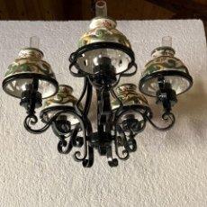 Antigüedades: LAMPARA DE FORJA DE 4 LUCES. Lote 133998506