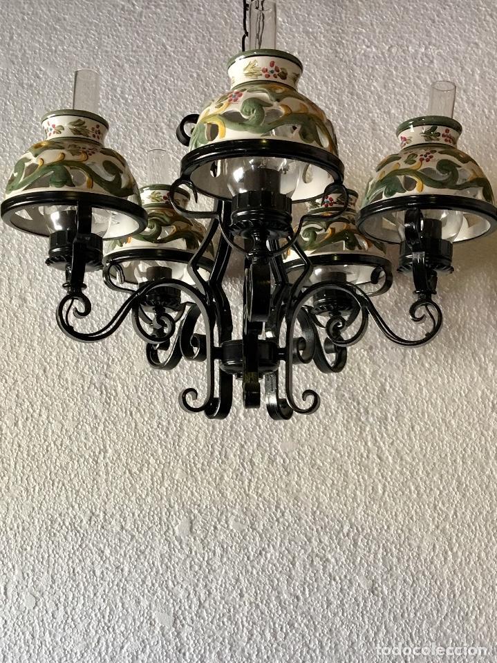 Antigüedades: LAMPARA DE FORJA DE 4 LUCES - Foto 3 - 133998506