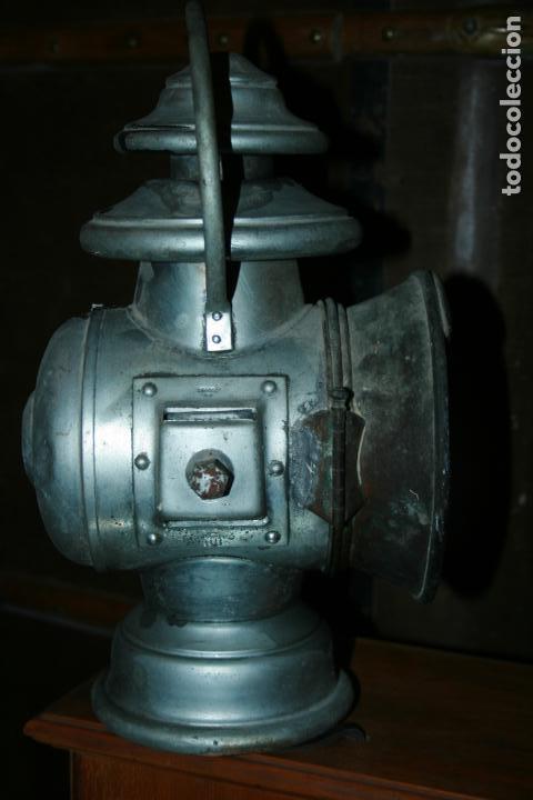 Antigüedades: Farol Auteroche Paris, reflex. cristal verde y blanco-está rajado.modelo 20. mide 32 x 18 cms. - Foto 7 - 134013686