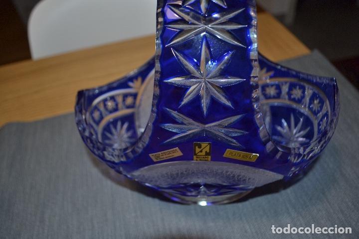 Antiques: Centro de mesa en cristal tallado a mano y plata 925 - Foto 3 - 134041750